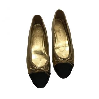 Chanel Gold & Black Ballerina Flats