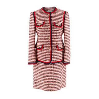 Gucci Red & Navy Tweed Jacket and Skirt Suit Set