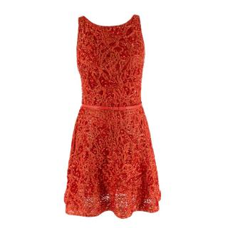Elie Saab Red Sequin Embroidered Belted Mini Dress
