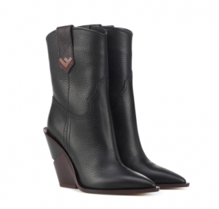 Fendi Heeled Calf Leather Cowboy Boots in Black