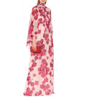 Giambattista Valli Silk Georgette Pink Peony Print Gown