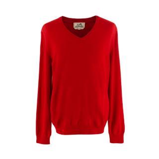 Hermes Red Cashmere V-Neck Sweater