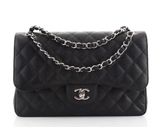 Chanel Black Caviar Leather Large Double Flap