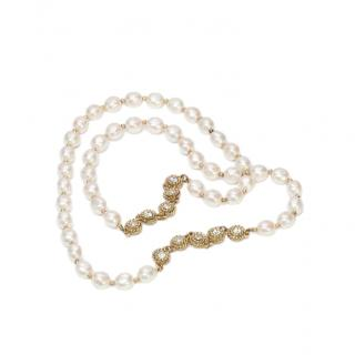 Chanel Faux Baroque Pearl & Crystal Gold Tone Necklace