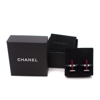 Chanel Airlines Tricolour Resin Aeroplane Shape Earrings