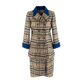 Chanel Paris/Egypt Blue & Gold Fantasy Tweed Jacket & Skirt