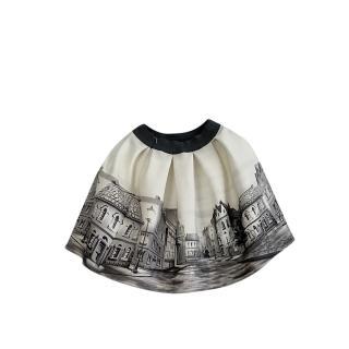 Monnalisa Cream & Grey Printed Flared Skirt