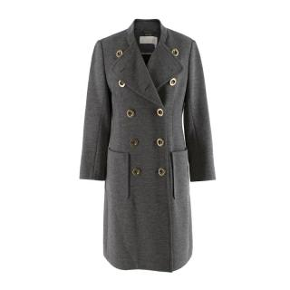 Chloe Grey Double Breasted Wool Knit Military Style Coat