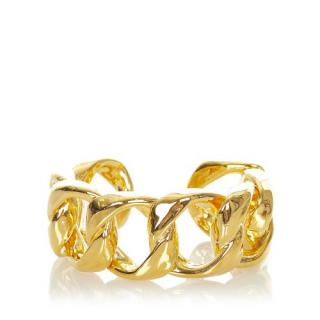 Chanel Gold-Tone Chain Link Open Bangle