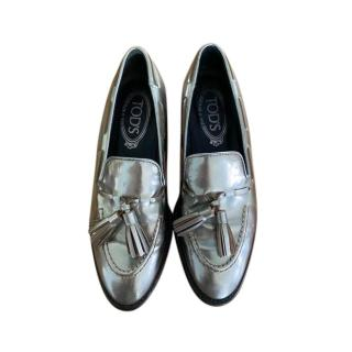 Tods Silver Metallic Loafers