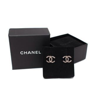 Chanel CC Rhinestone Logo Silver-Tone Stud Earrings