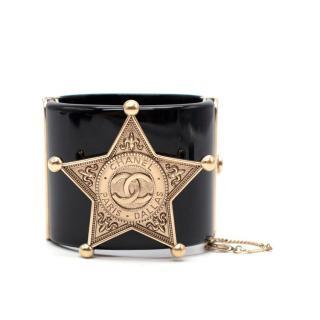Chanel Black Paris/Dallas Gold-Tone Sheriff's Star Cuff