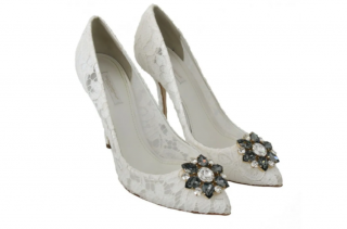 Dolce & Gabbana White Lace Crystal Belucci Pumps