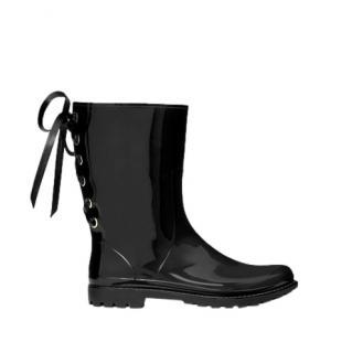 REDValentino Black Patent Ribbon Tie Rainboots
