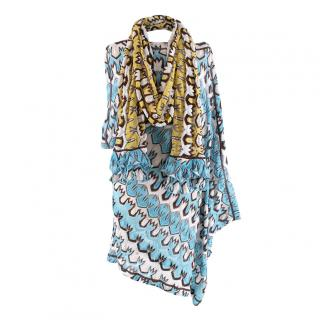 Missoni Mare Blue White and Brown Knitted Poncho & Scarf