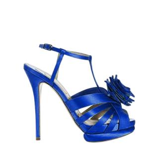 Nicholas Kirkwood Blue Satin Stiletto Platform Sandals