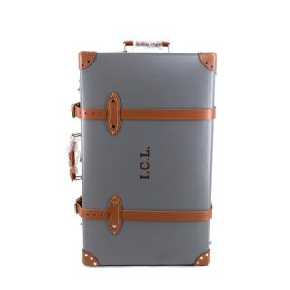 Globe-Trotter Grey & Brown Leather Medium 2 Wheel Check-In Suitcase