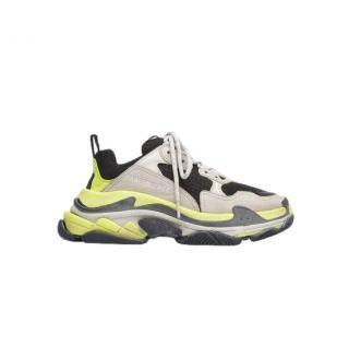 Balenciaga Black/Neon Triple S Sneakers