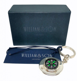 William & Son Sterling Silver Compass Key Chain