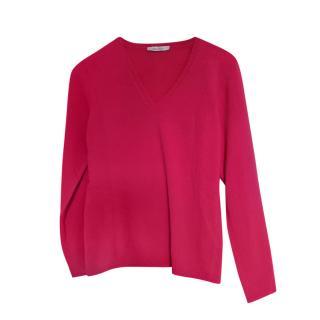 Max Mara Pink V Neck Wool Blend Jumper