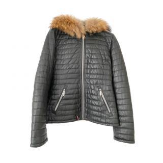 Oakwood down quilted fur trim jacket