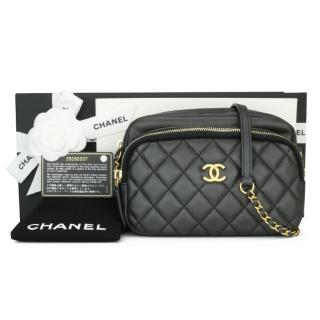 Chanel Black Quilted Leather Camera Bag