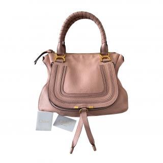 Chloe Blush Grained Leather Medium Marcie Bag