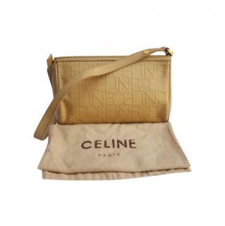 Celine Beige Logo Embossed Vintage Shoulder Bag