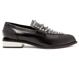 Alexander McQueen Black Studded point-toe leather loafers