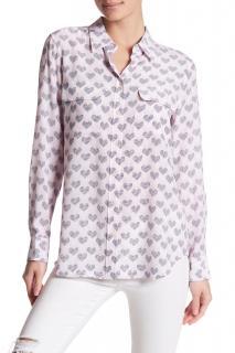 Equipment Pink Heart Print silk blouse