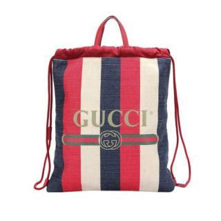 Gucci Sylvie Striped Canvas Drawstring Backpack
