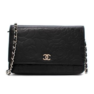 Chanel Black Camellia Floral Embossed Leather Wallet On Chain