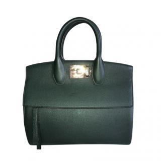 Ferragamo Bottle Green Grained Leather Top Handle Tote