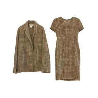 Chanel Vintage 90's Khaki Check Tweed Jacket & Dress