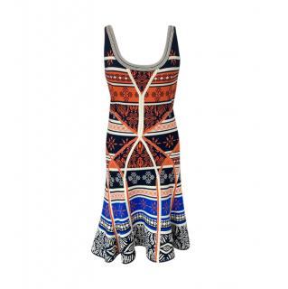 DVF Multicoloured Printed Bandage Skater Dress