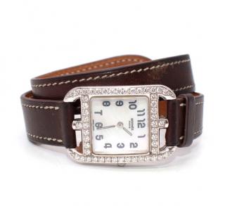 Hermes Cape Cod 23mm White Gold & Diamond Barenia Strap Watch
