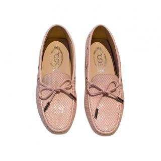 Tod's Pale Pink Embossed Gommino Loafers