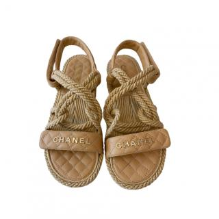 Chanel Beige Quilted Leather Rope Dad Sandals