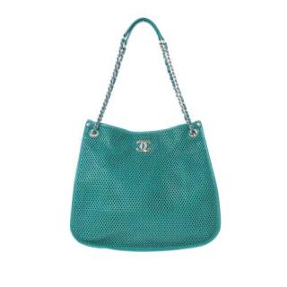 Chanel Turquoise Perforated Leather Up in the Air Shoulder Bag