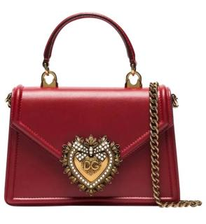 Dolce & Gabbana Red Leather Small Devotion Top Handle Bag