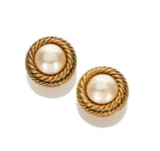 Chanel Vintage 80's Faux Pearl Woven Gold Tone Clip-on Earrings