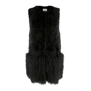 Yves Salomon Black Mink & Racoon Fur Knitted Gilet