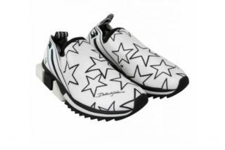 Dolce & Gabbana White & Black Star Print Sneakers