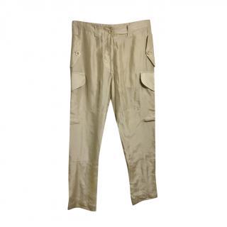 Alexander McQueen golden beige silk combat pants
