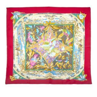 Hermes Red Tropiques Silk Scarf 90