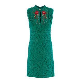 Gucci Teal Lace Floral Embroidered Shift Dress
