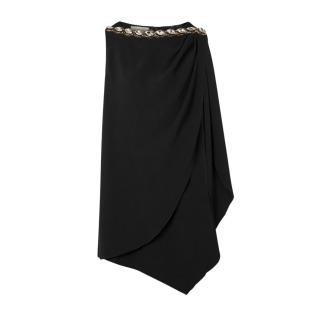 Gucci Black Crystal Embellished Draped Asymmetric Dress