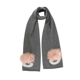 Fendi Bugs Wool & Pink Fox Fur Pom-Pom Scarf
