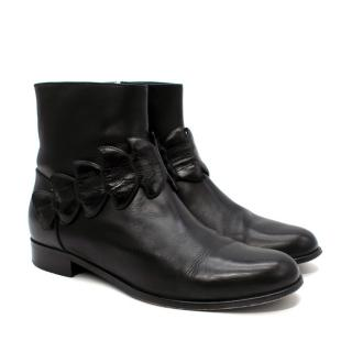 Fendi Black Croc Embossed Strap Leather Ankle Boots