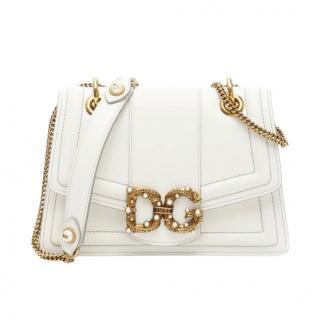 Dolce & Gabbana White Leather Amore Shoulder Bag